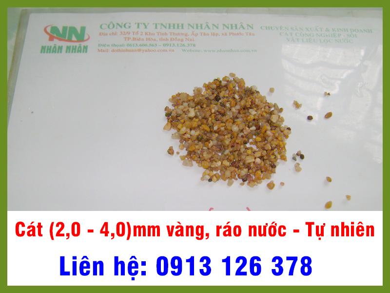 Cát (2,0 - 4,0)mm Vàng, ráo nước tự nhiên